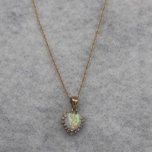 Opal heart 14 karat gold and diamond necklace
